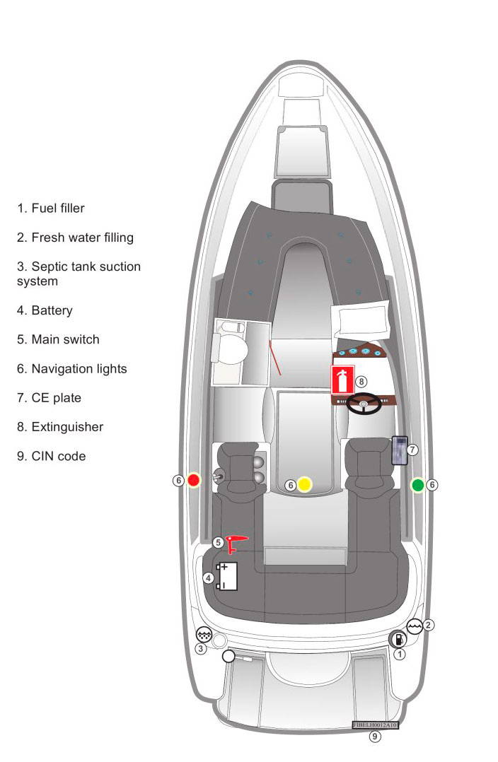 Схема катера Aquador Boats Daycruisers 28 DC