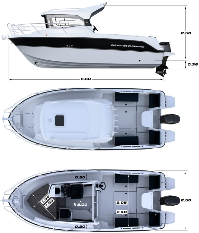 Схема катера Parker 660 Pilothouse