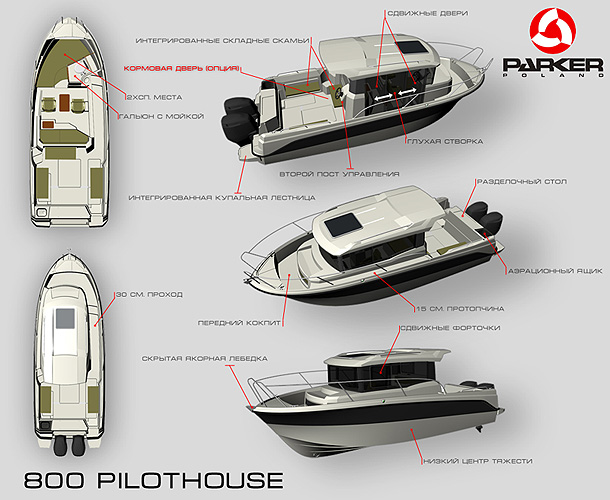 Схема катера Parker 800 Pilothouse