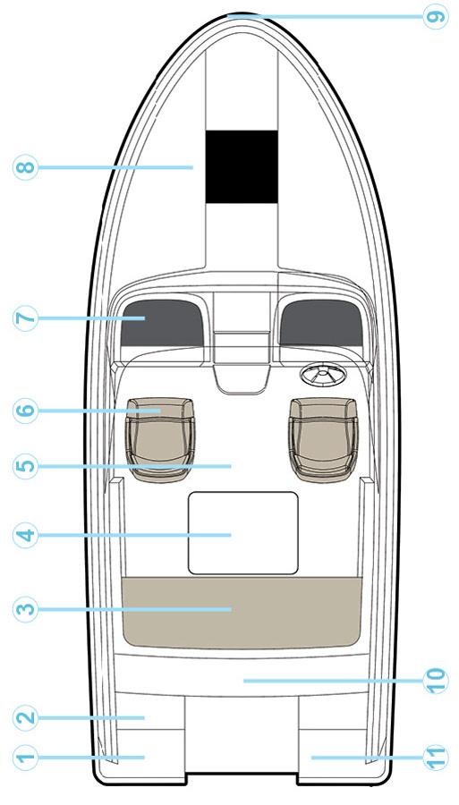 Схема катера Quicksilver Activ 595 Cabin
