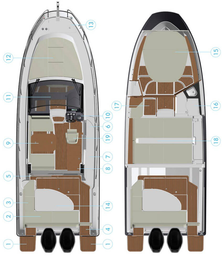 Схема катера Quicksilver Activ 855 Cruiser
