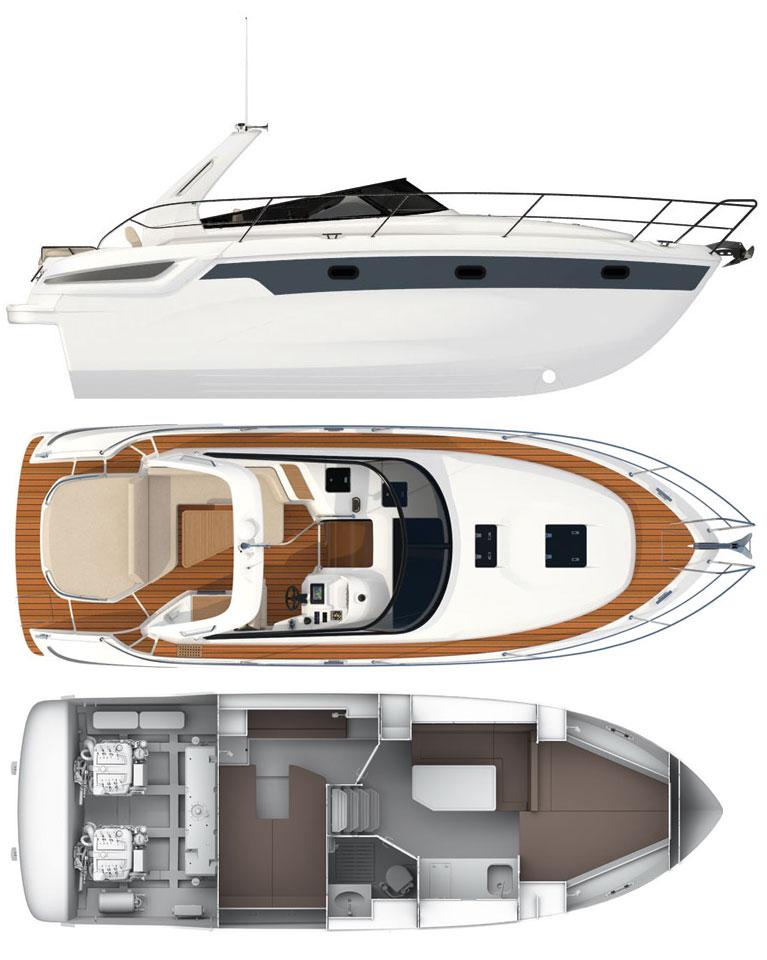 Cхема яхты Bavaria Sport 32