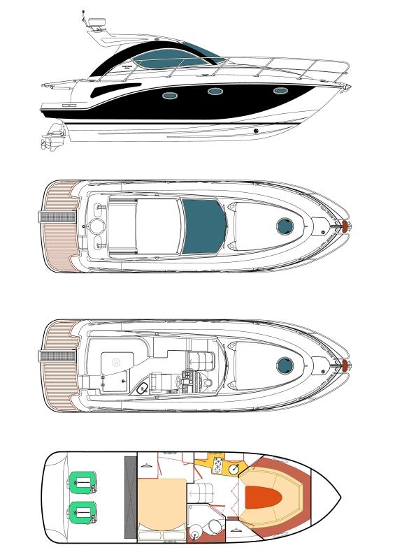 Схема яхты Pearlsea 31 Hard top