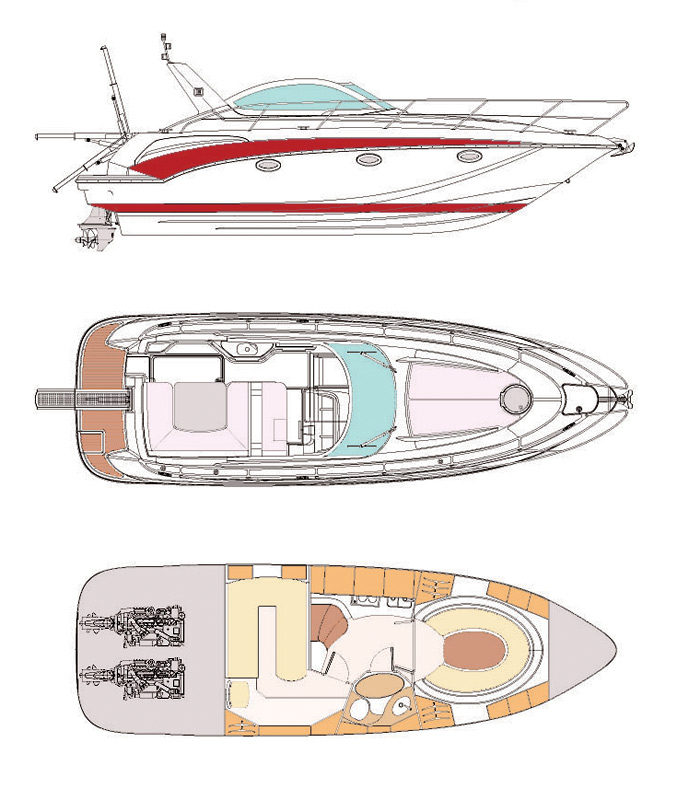 Схема яхты Pearlsea 33 Open