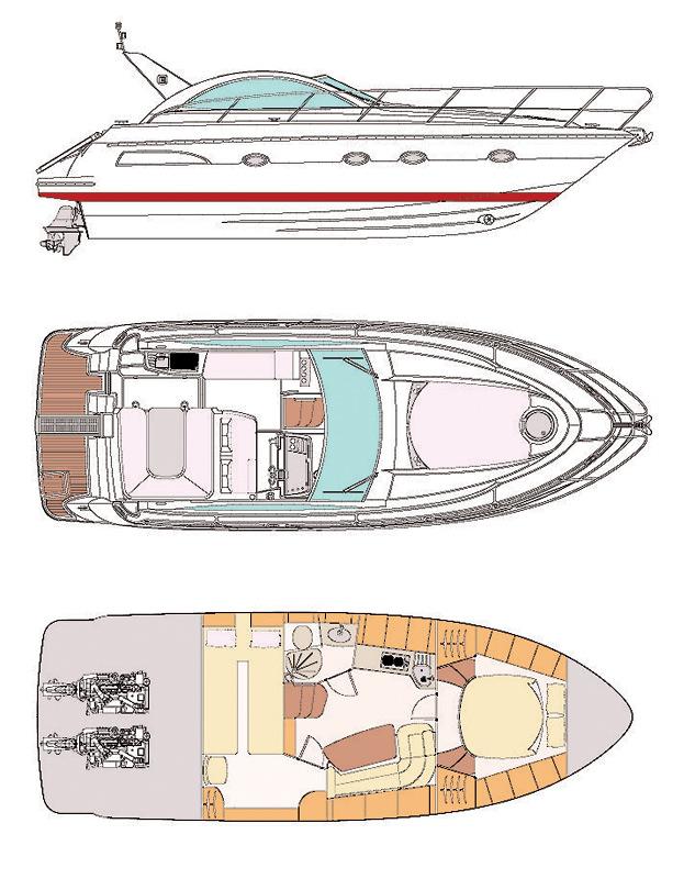 Схема яхты Pearlsea 36 Open