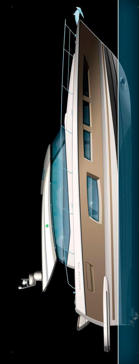 Схема яхты Prestige 550 S