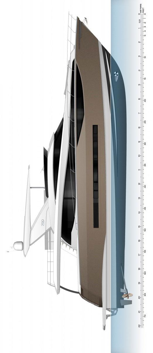 Схема яхты Prestige 750
