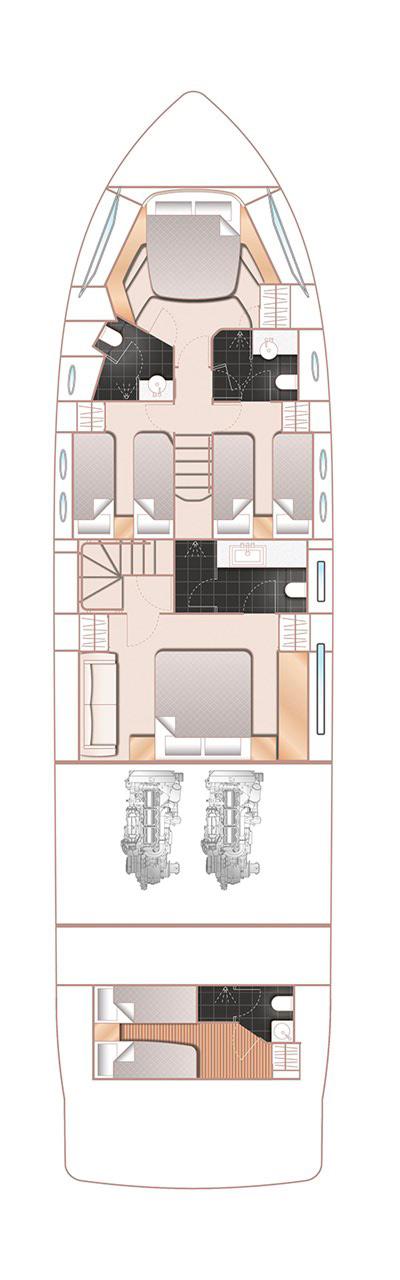 Схема яхты Princess 68