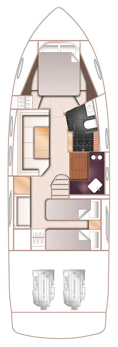 Схема яхты Princess V39