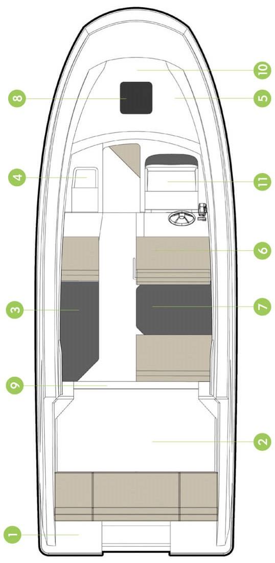 Схема катера Quicksilver Activ 705 Cruiser