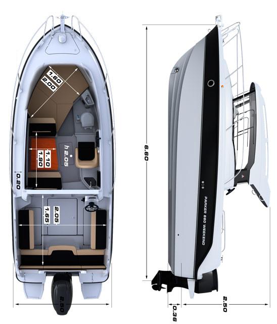 Схема катера Parker 660 Weekend