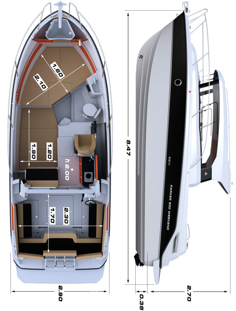 Схема катера Parker 800 Weekend