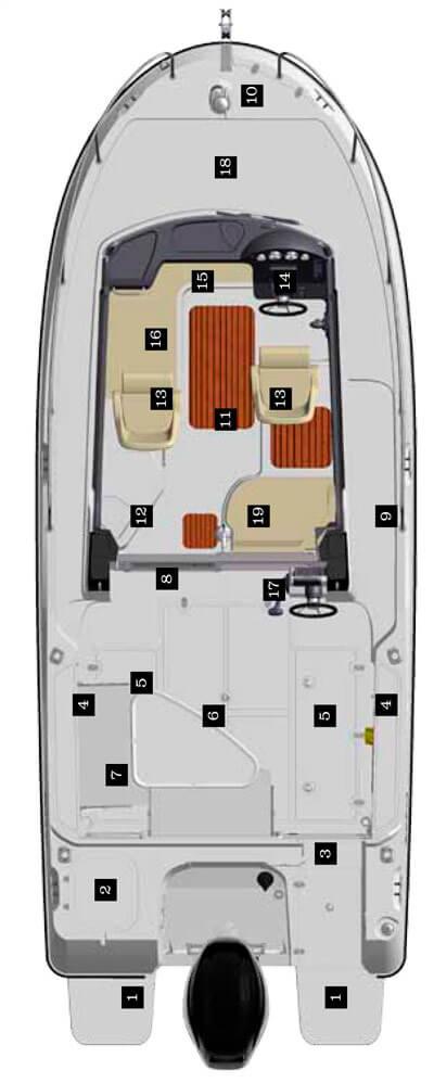 Схема катера Quicksilver 675 Pilothouse