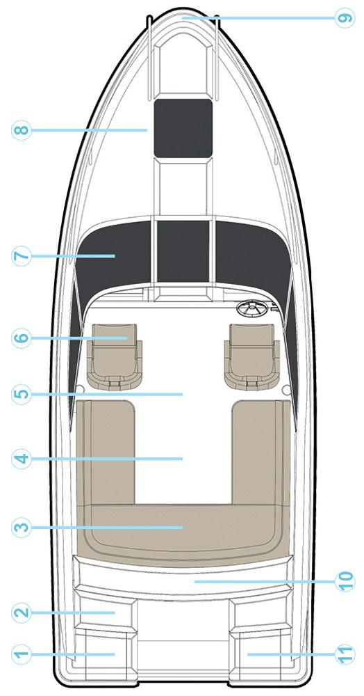 Схема катера Quicksilver Activ 645 Cabin