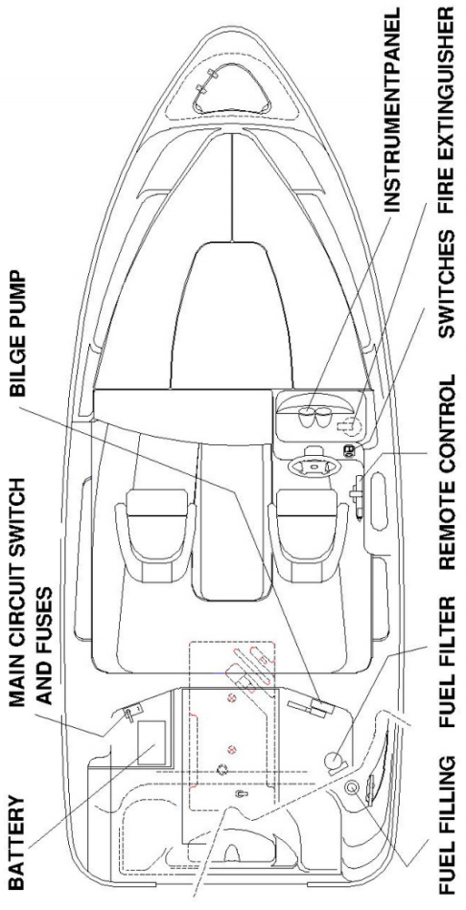 Схема катера Yamarin 56 Hard Top