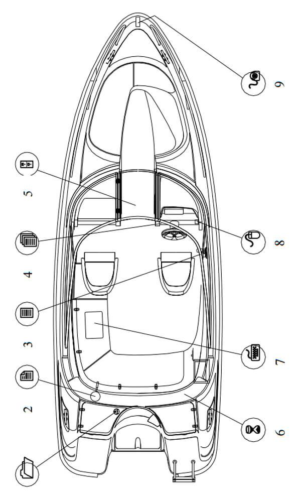 Схема катера Yamarin 63 Bow Rider