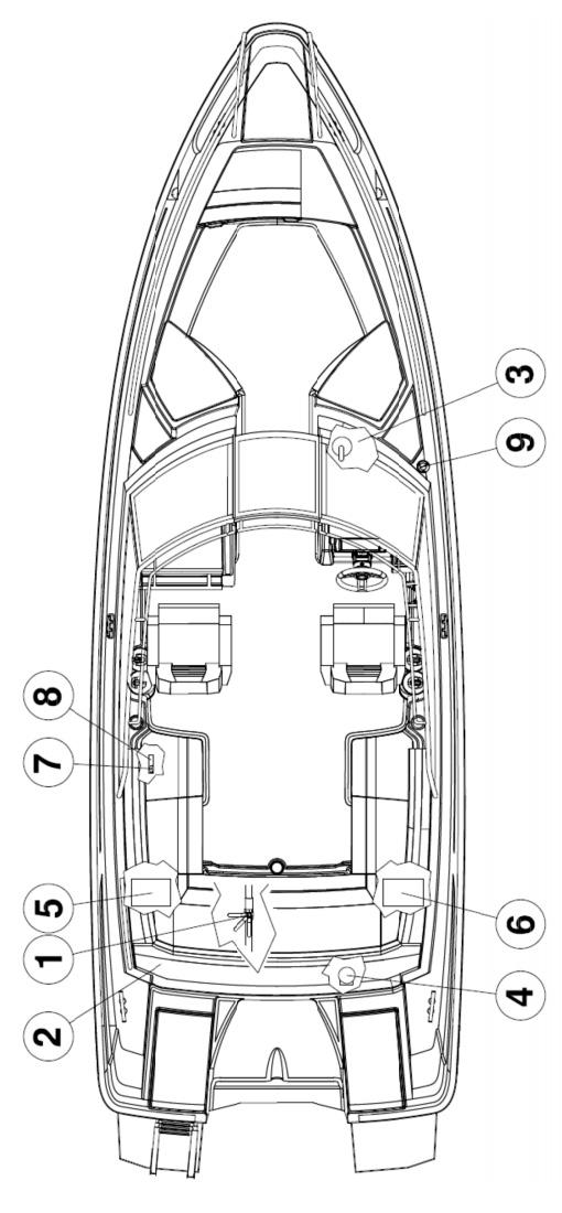 Схема катера Yamarin Cross 75 Bow Rider