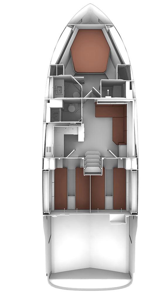 Схема яхты Bavaria Sport 450 Open