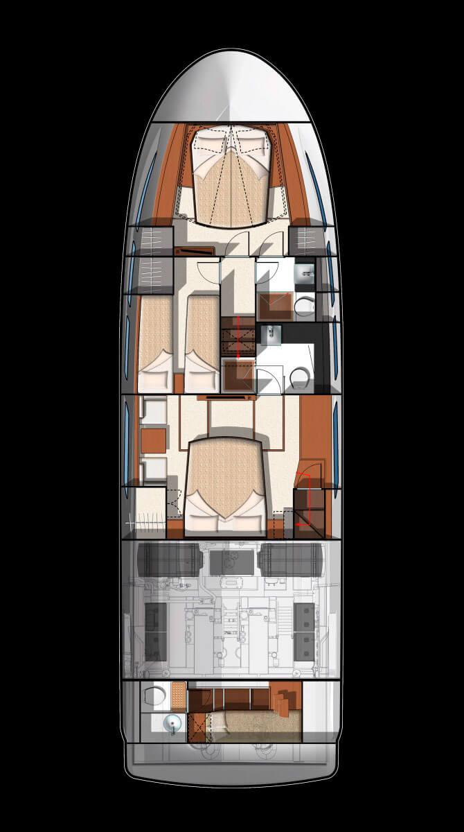 Схема яхты Prestige 500