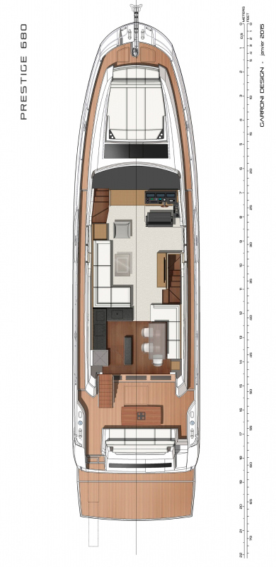 Схема яхты Prestige 680