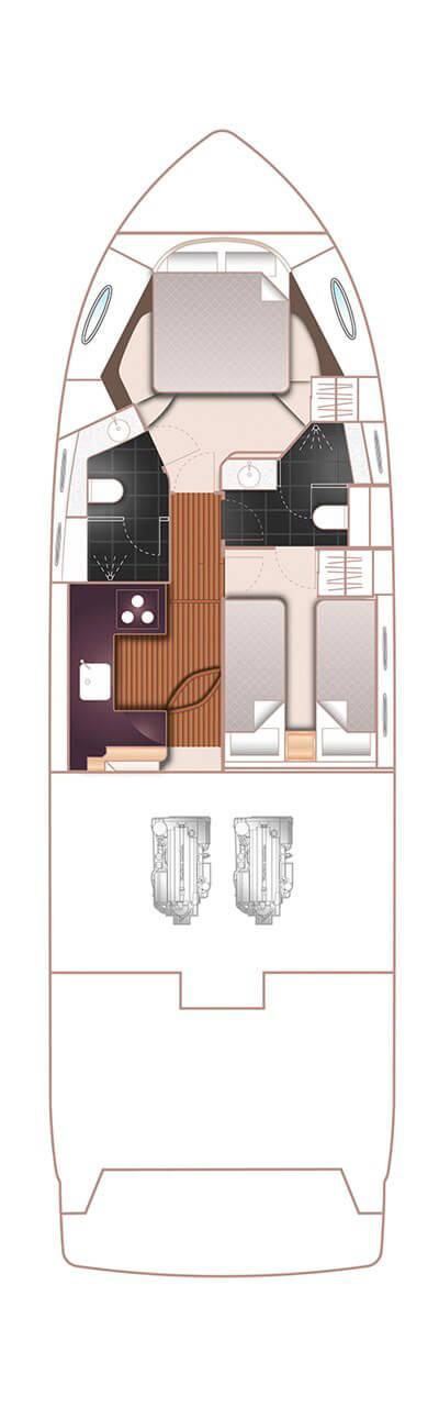 Схема яхты Princess 43