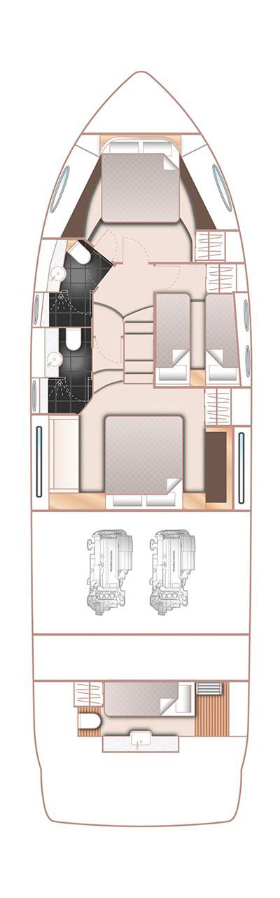 Схема катера Princess 52
