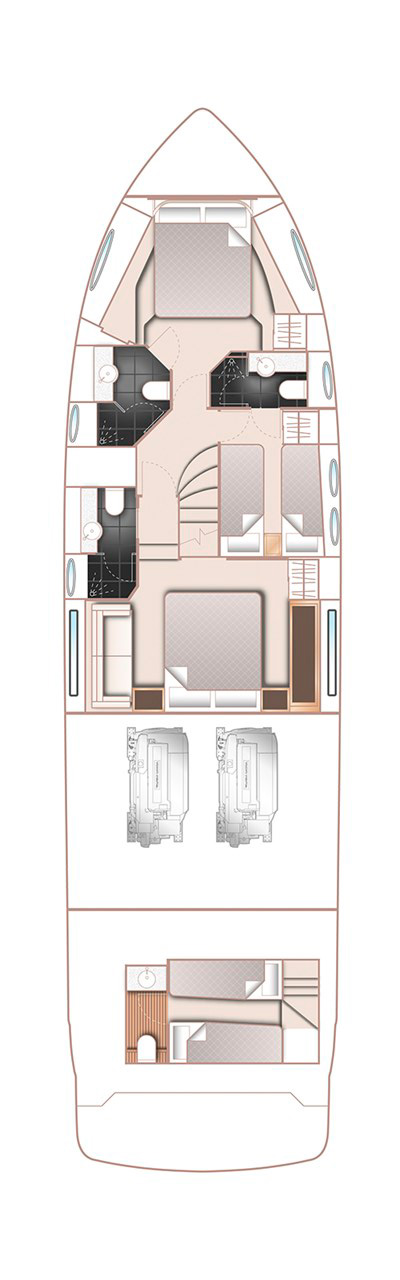 Схема катера Princess 60